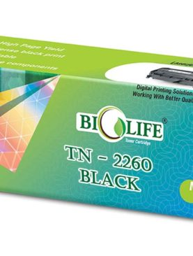 Biolife TN-2260 Black Toner Cartridge Compatible with Brother HL-2250DN, HL-2240D, DCP-7060D, DCP-7065DN, MFC-7360, MFC-7860DW, FAX-2840