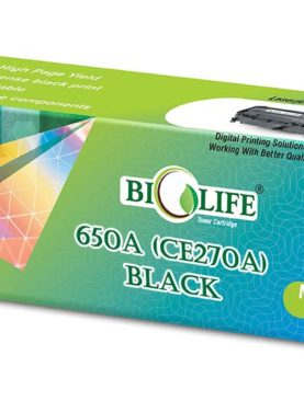 Biolife 650A - CE270A Black Toner Cartridge Compatible with HP Laser Printers Color LaserJet Enterprise CP5520 Series, CP5525dn, CP5525n, CP5525xh, M750dn, M750xh