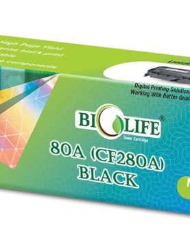 Biolife 80A Black Toner Cartridge CF280A Black, Compatible For HP LaserJet Pro 400 M401a MFP, LaserJet Pro 400 M401d MFP, LaserJet Pro 400 M401dn MFP, LaserJet Pro 400 M401dne MFP, LaserJet Pro 400 M401dw MFP, LaserJet, Pro 400 M425dn MFP, LaserJet Pro 400 M425dw MFP.