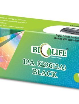 Biolife 12A / Q2612A Black Toner Cartridge Compatible with HP Laserjet 1010, 1012, 1015, 1018, 1020, 1022, P3015, 3020, 3030, 3050, MFP 3052, 3055, M1005, M1319