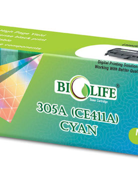 Biolife 305A/CE411A Compatible Toner Cartridge for HP All in One Printers Color LaserJet Pro 300 M375 MFP, 300 M375nw MFP, 400 M475 MFP, 400 M475dn MFP, 400 M475dw MFP, 300 M351, 300 M351a, 400 M451, 400 M451dn, 400 M451dw, 400 M451nw