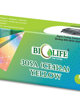 Biolife 305A/CE412A Compatible Toner Cartridge for HP All in One Printers Color LaserJet Pro 300 M375 MFP, 300 M375nw MFP, 400 M475 MFP, 400 M475dn MFP, 400 M475dw MFP, 300 M351, 300 M351a, 400 M451, 400 M451dn, 400 M451dw, 400 M451nw